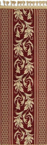 Belgian Tapestry Table Runner with Ornamental Acanthus Rococo Style (Burgundy)