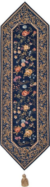 Jacquard Woven Tapestry Table Runner, Antique Floral (Blue)