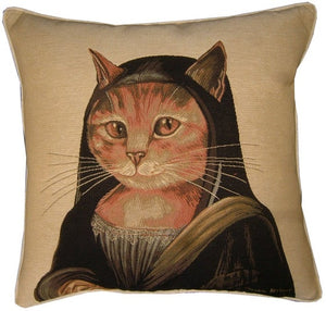 Mona Lisa Cat Jacquard Woven Tapestry Cushion Cover by Susan Herbert - 18x18""