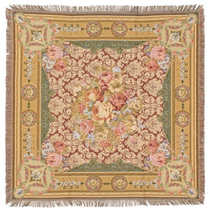 Jacquard Woven Tapestry Table Throw - Floral