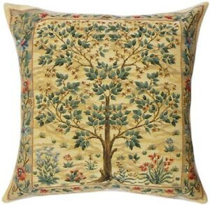 TREE OF LIFE by William Morris Belgian Tapestry Cushion Cover (Beige) 18 x 18""