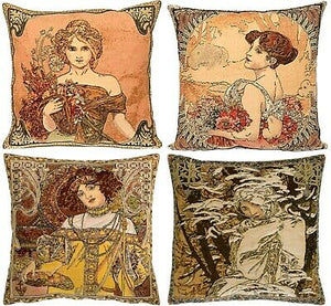 "Belgian Tapestry Mucha Cushion Cover Set of Four (Four Seasons) 18""x18"""