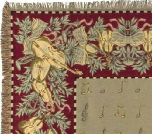 Jacquard Woven Tapestry Table Throw with Musical Instruments