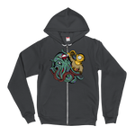 Kraken vs Diver Zip-Up Hoodie