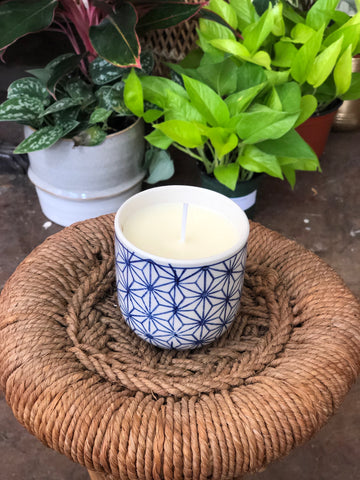 Blue and White Botanica Candle - Volcano Scent
