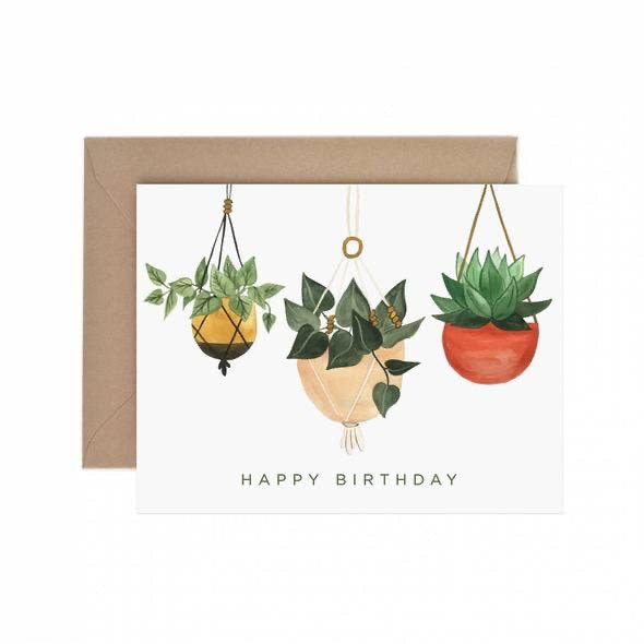 Happy Birthday Card (hanging plants)