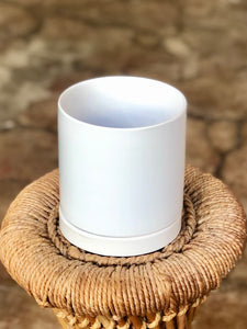 "Romey Pot and Drip Tray 4"" White"