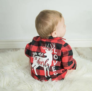 The Deerly Loved Plaid Baby Romper