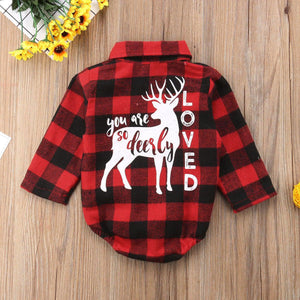 The Deerly Loved Plaid Baby Romper - Summit Creek