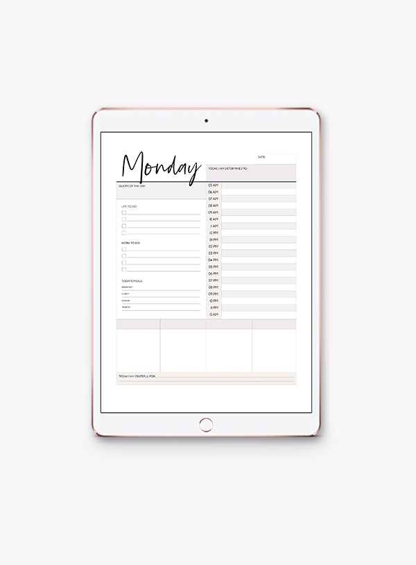 Daily Detailed Planner | Monday-Sunday (7 Sheets)