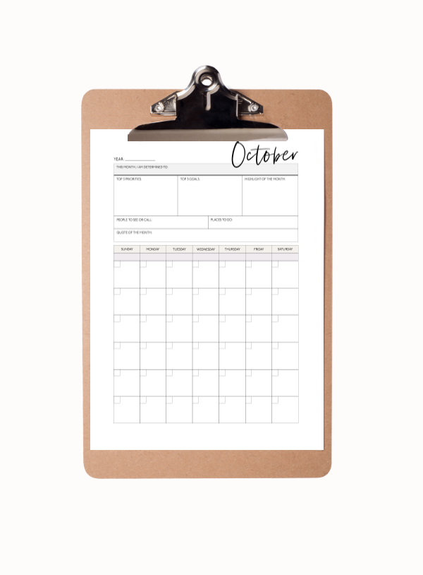 Monthly Calendar Planner | January-December (12 Sheets)