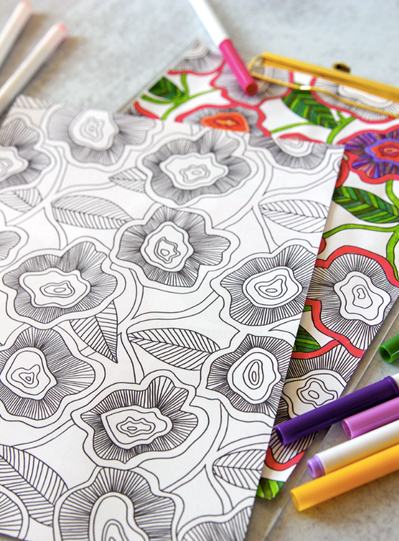 Coloring Page - Poppies & Leaves