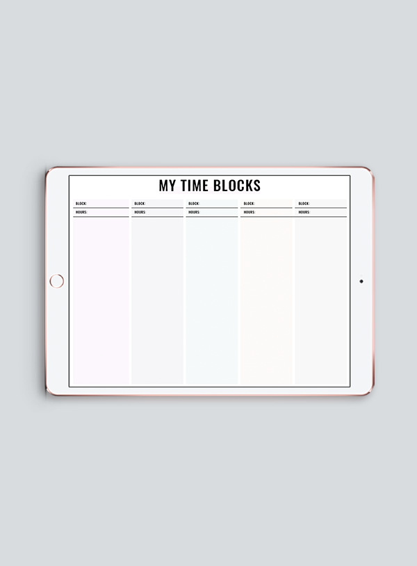 Time Blocking - Choose 5, 6, 7 or 8 Columns