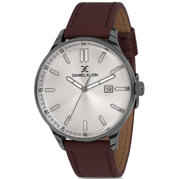 Daniel Klein Gents Silver Dial Leather Strap