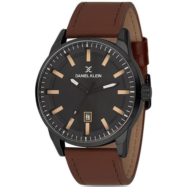 Daniel Klein Gents Black Dial Leather Strap