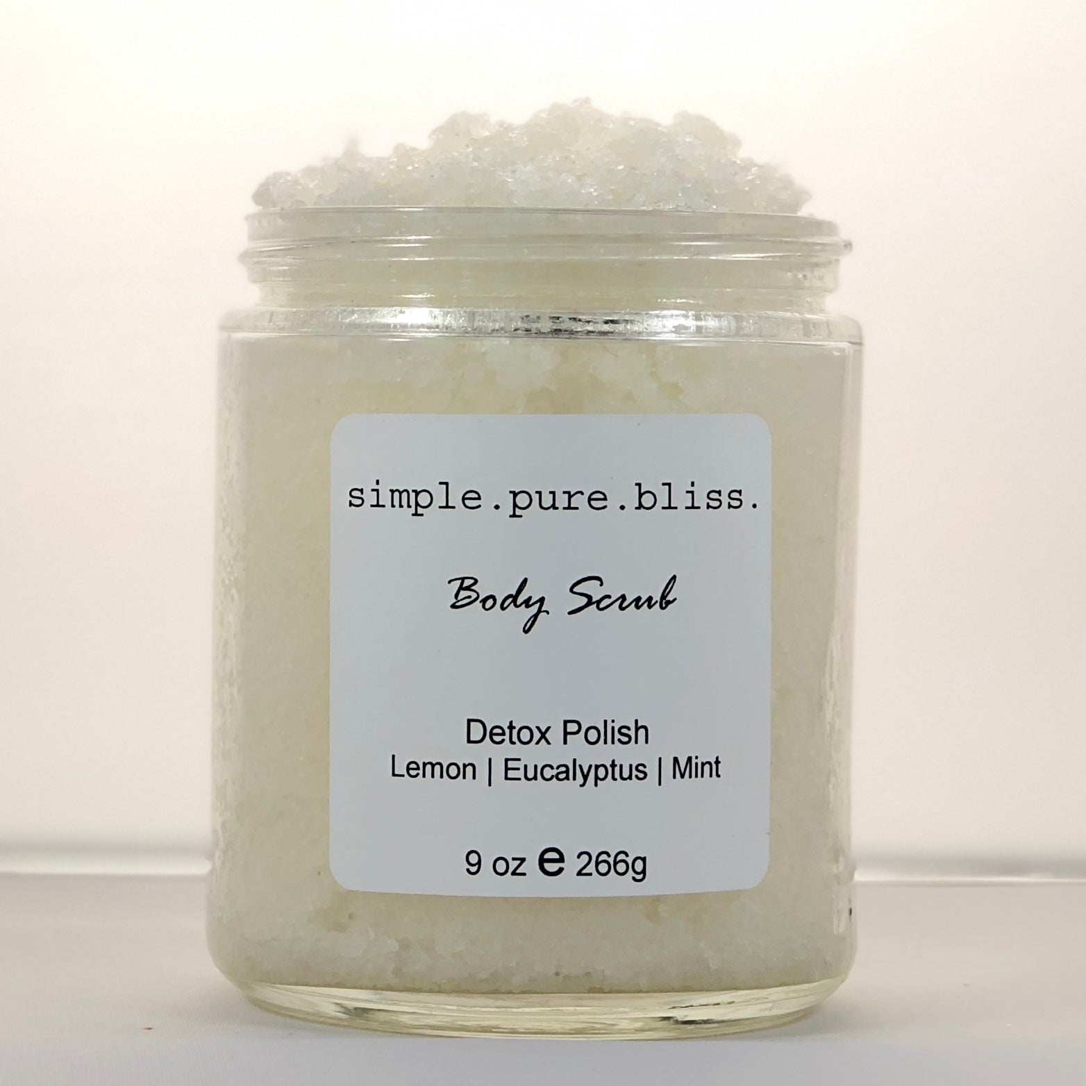 simple. pure. bliss. organic body scrub