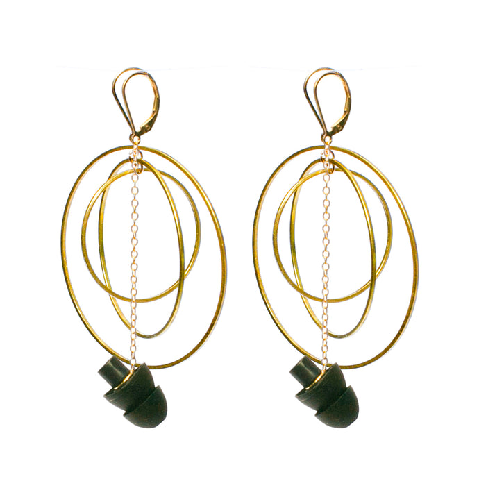 GOLD HEARRINGS: earplug earrings you'll never lose with Atomic earrings