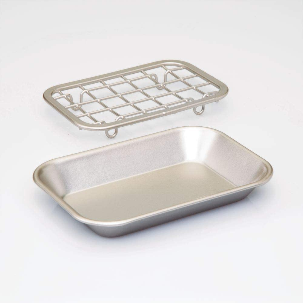 Fully Draining Metal Soap Dish - Brushed Silver