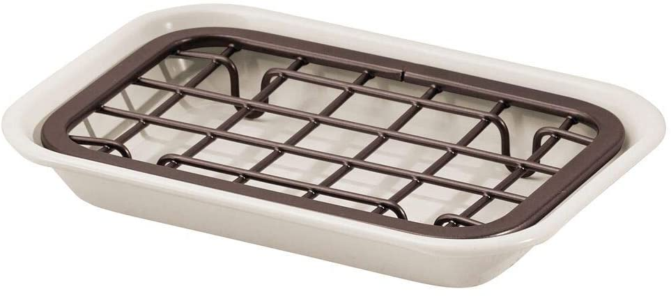 Fully Draining Metal Soap Dish - Coffee & Cream