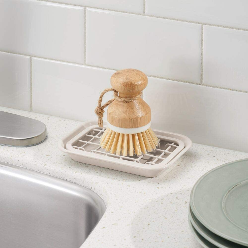 Fully Draining Metal Soap Dish - Almond
