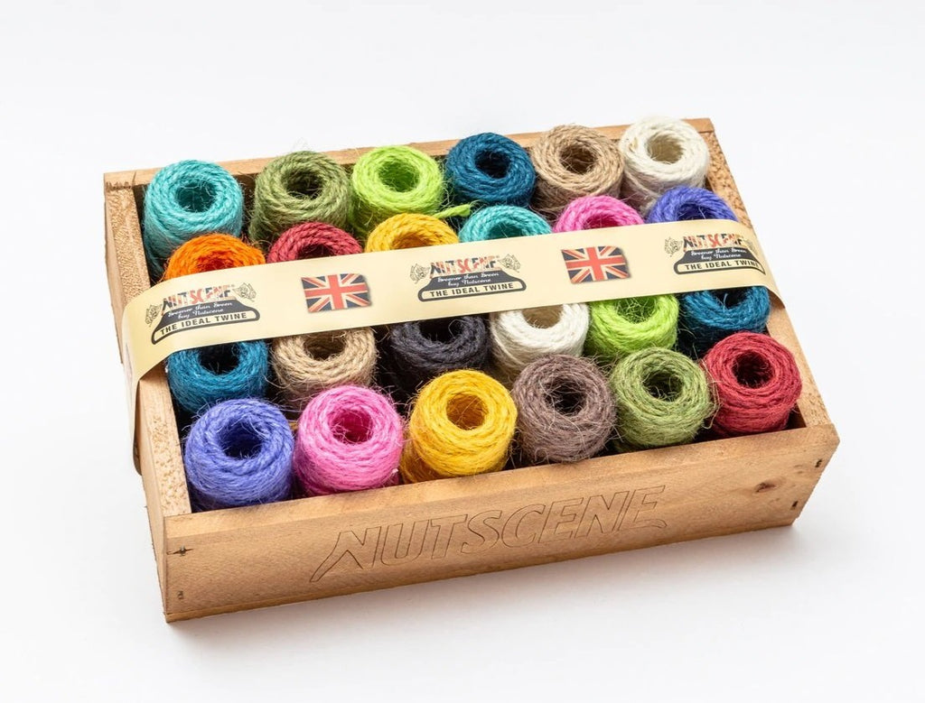 Wooden Crate of Mini Heritage Twine spools