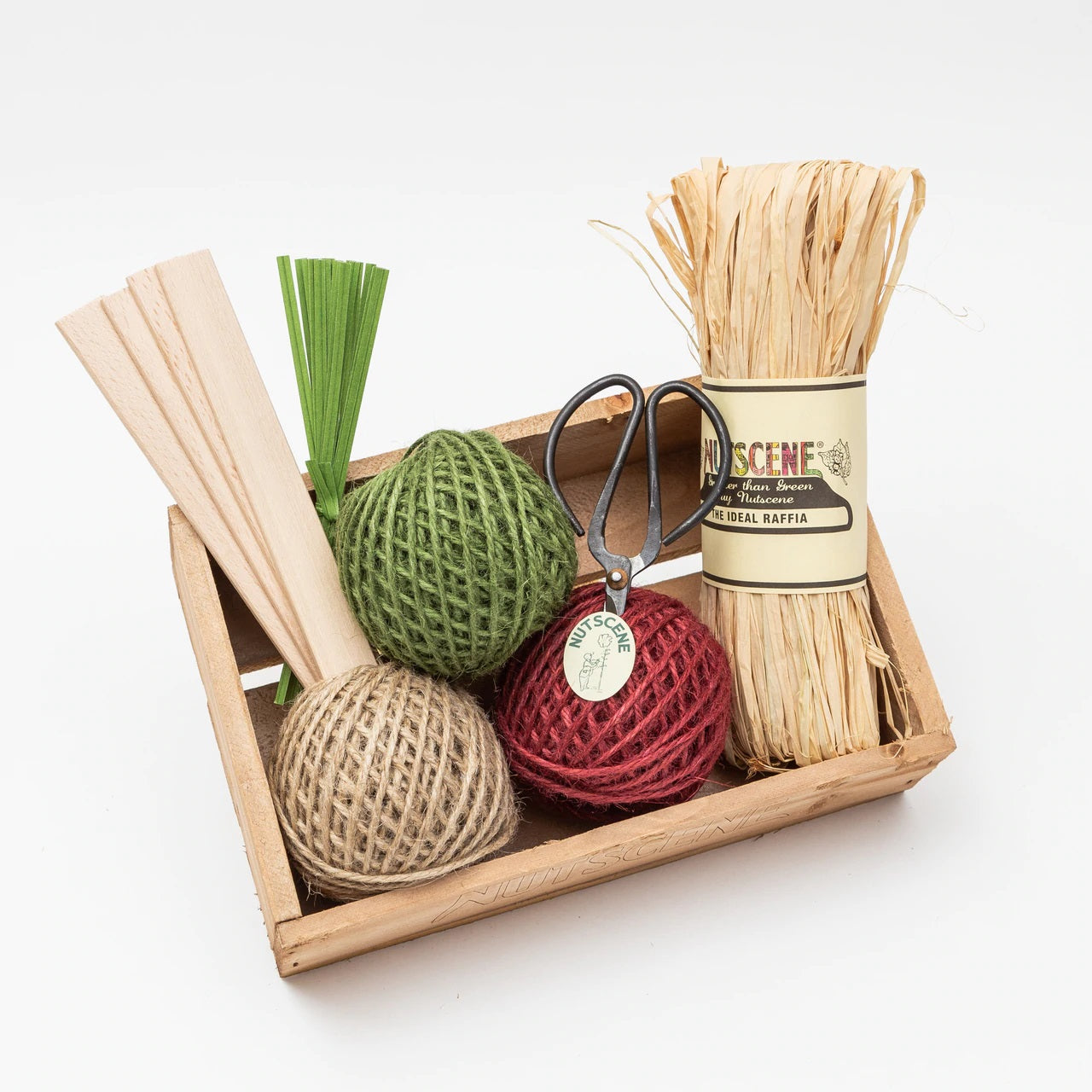 Reclaimed Wooden Tray Gift Set With Twine, Scissors and More