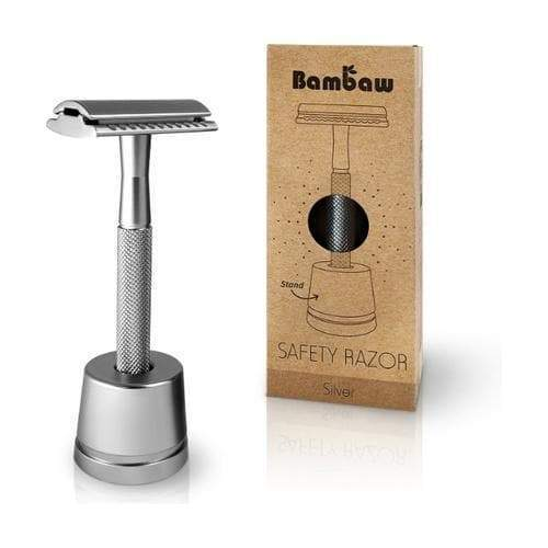 Stainless Steel Safety Razor with Stand - Silver