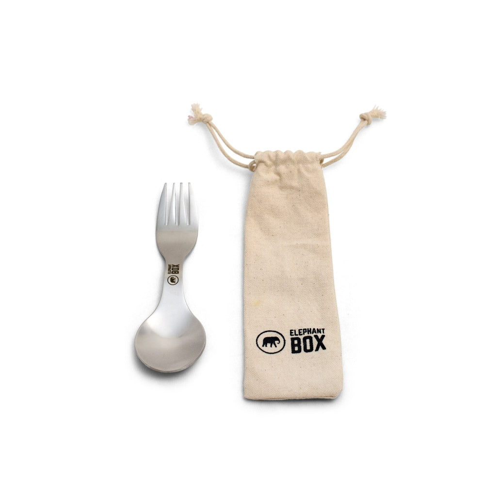 Stainless Steel Spork and Cotton Bag
