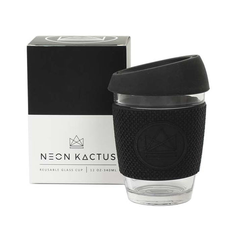Reusable Glass Cup - Rock Star Black