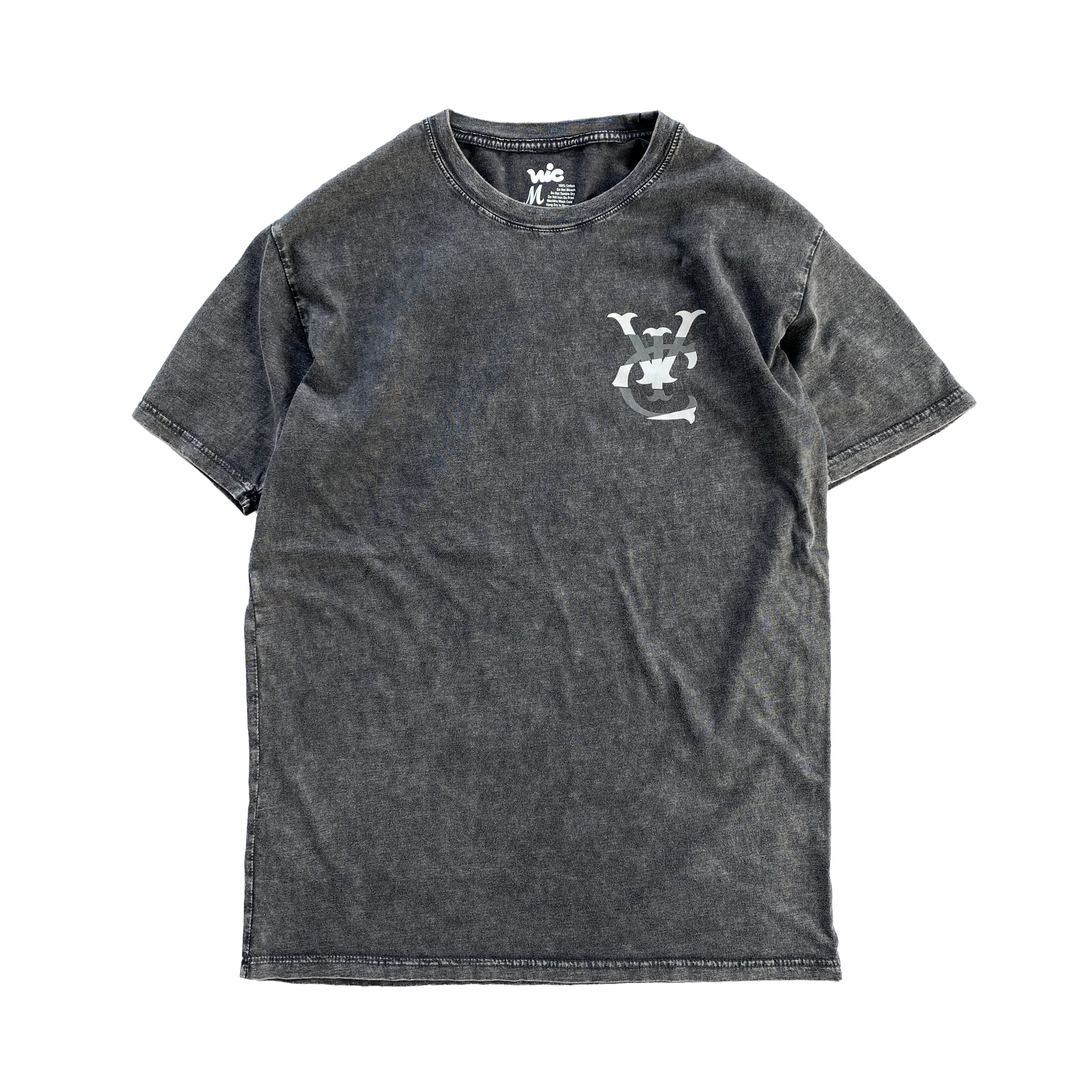 Premium quality tee shirt in vintage black stone wash by New Zealand skate and streetwear clothing label VIC Apparel. Screen printed vintage logo design.