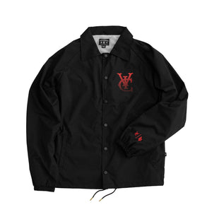 Premium quality sports showerproof coach jacket in black by New Zealand skate and streetwear clothing label VIC Apparel. Screen printed logos. 100% Oxford nylon matt finish, Regular fit, Lightweight microfibre Lining, Stash pocket inside the chest.