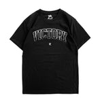 Premium quality tee shirt in black by New Zealand skate and streetwear clothing label VIC Apparel. Varsity distress logo design.