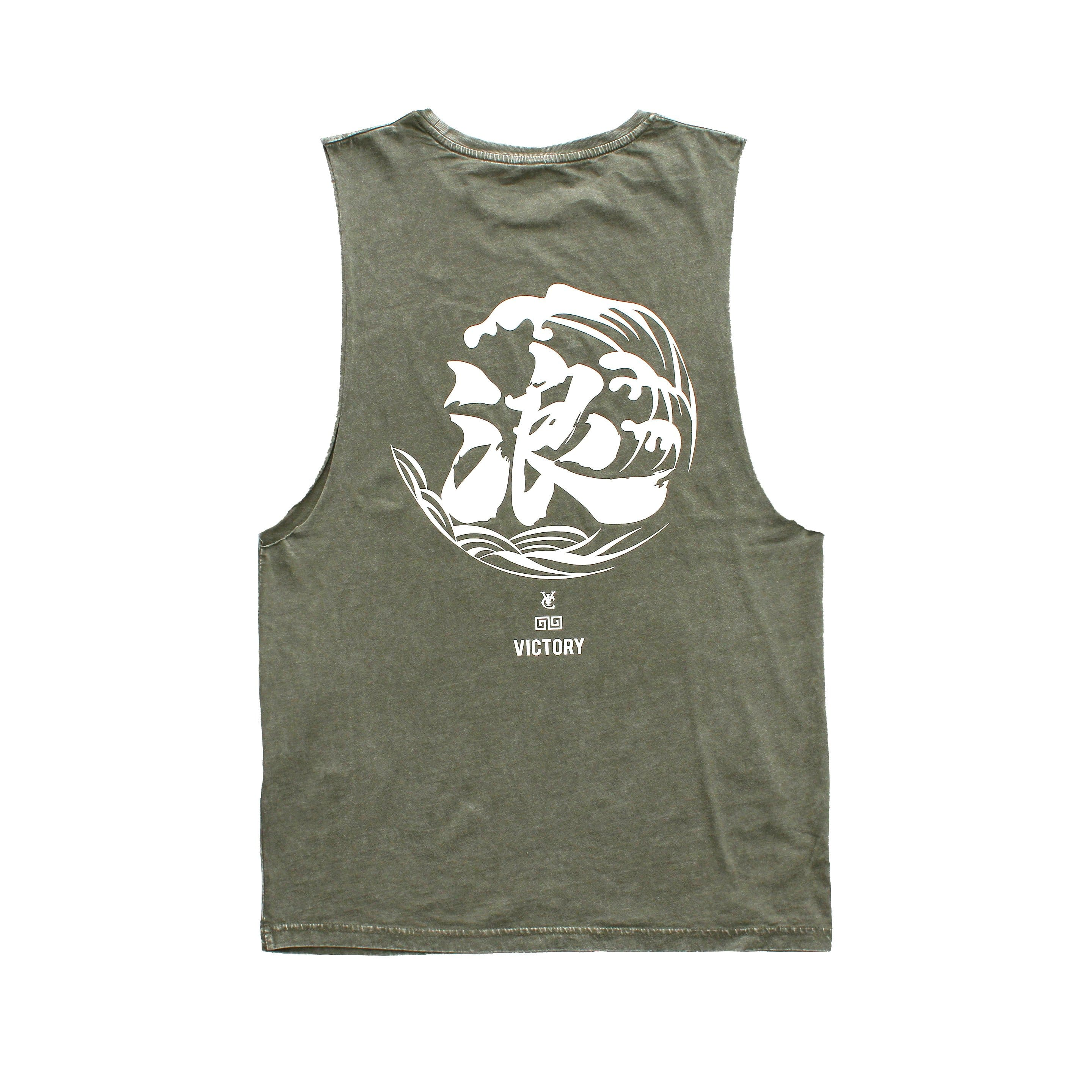 WAVE MUSCLE TANK - ARMY STONE