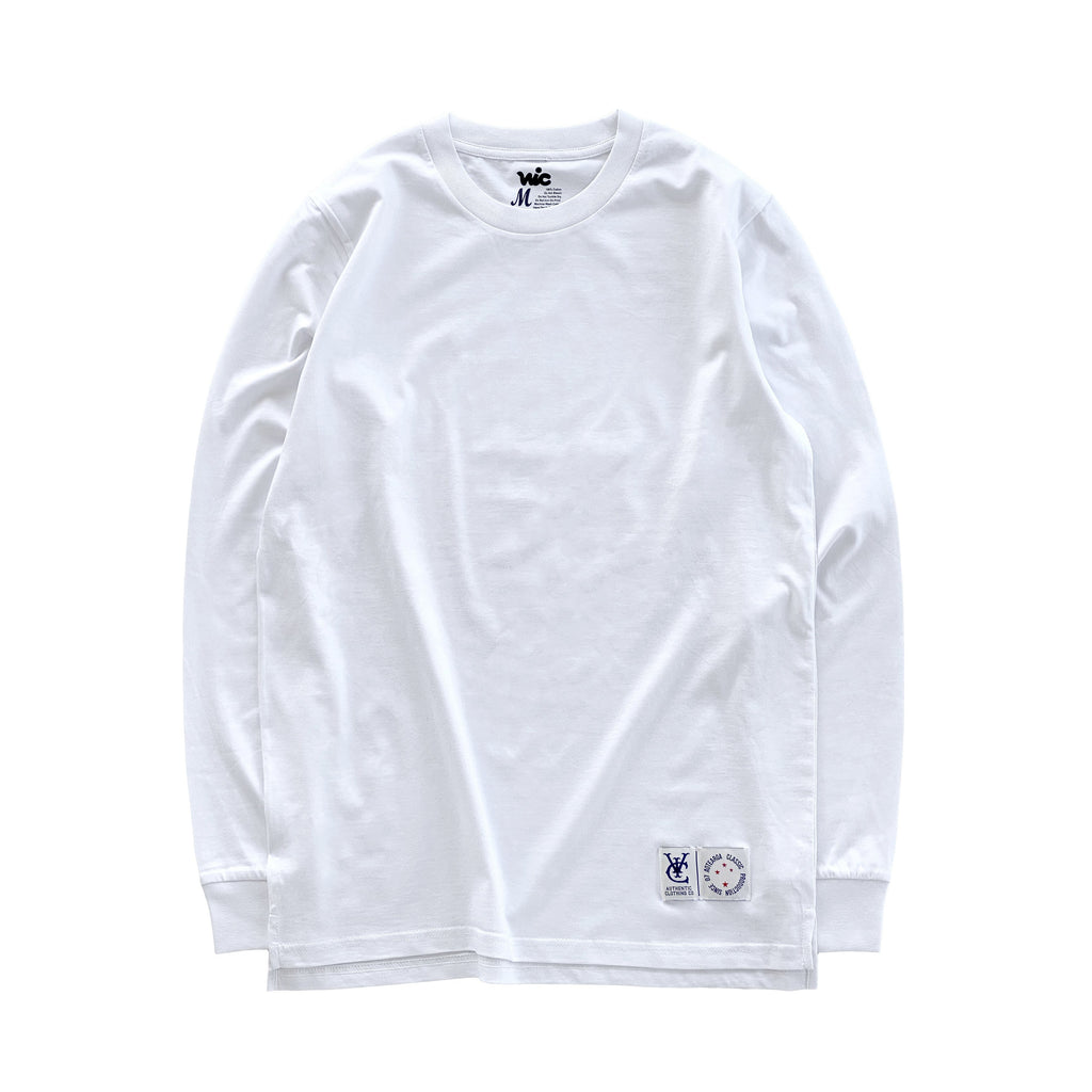 Premium quality long sleeve blank tee shirt in white by New Zealand skate and streetwear clothing label VIC Apparel. A clean, heavyweight & price point staple.