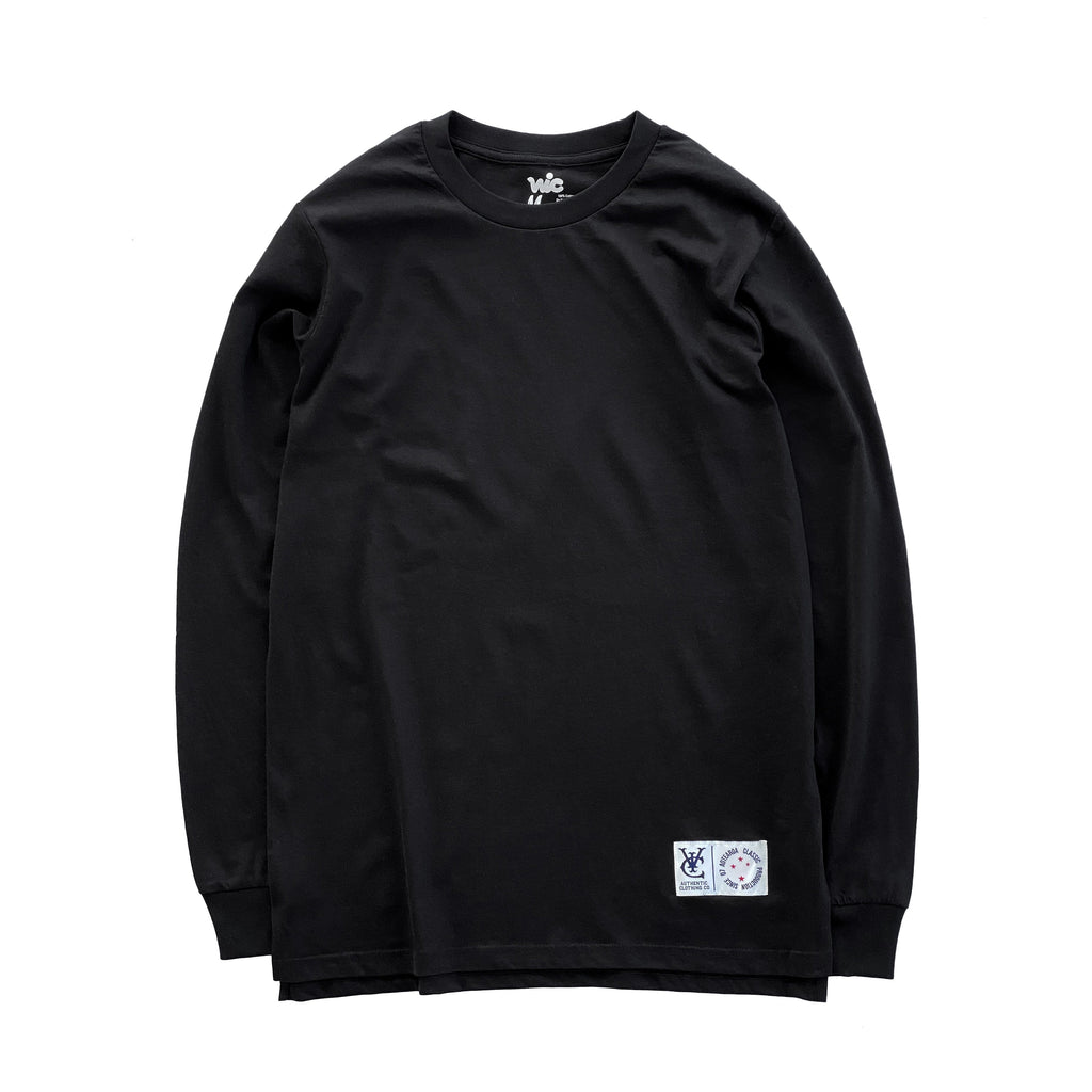 Premium quality long sleeve blank tee shirt in black by New Zealand skate and streetwear clothing label VIC Apparel. A clean, heavyweight & price point staple.