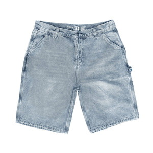 Premium quality carpenter denim shorts by New Zealand skate and streetwear clothing label VIC Apparel. Regular fit. Featuring utility pockets, a traditional hammer loop, and triple needle contrast stitching with the blue woven VIC patch on the hammer loop. Classic vintage workwear style.