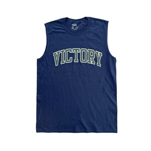 Premium quality sleeveless muscle tee shirt by New Zealand skate and streetwear clothing label VIC Apparel. Varsity design. Classic fit, Heavyweight, 100% Cotton