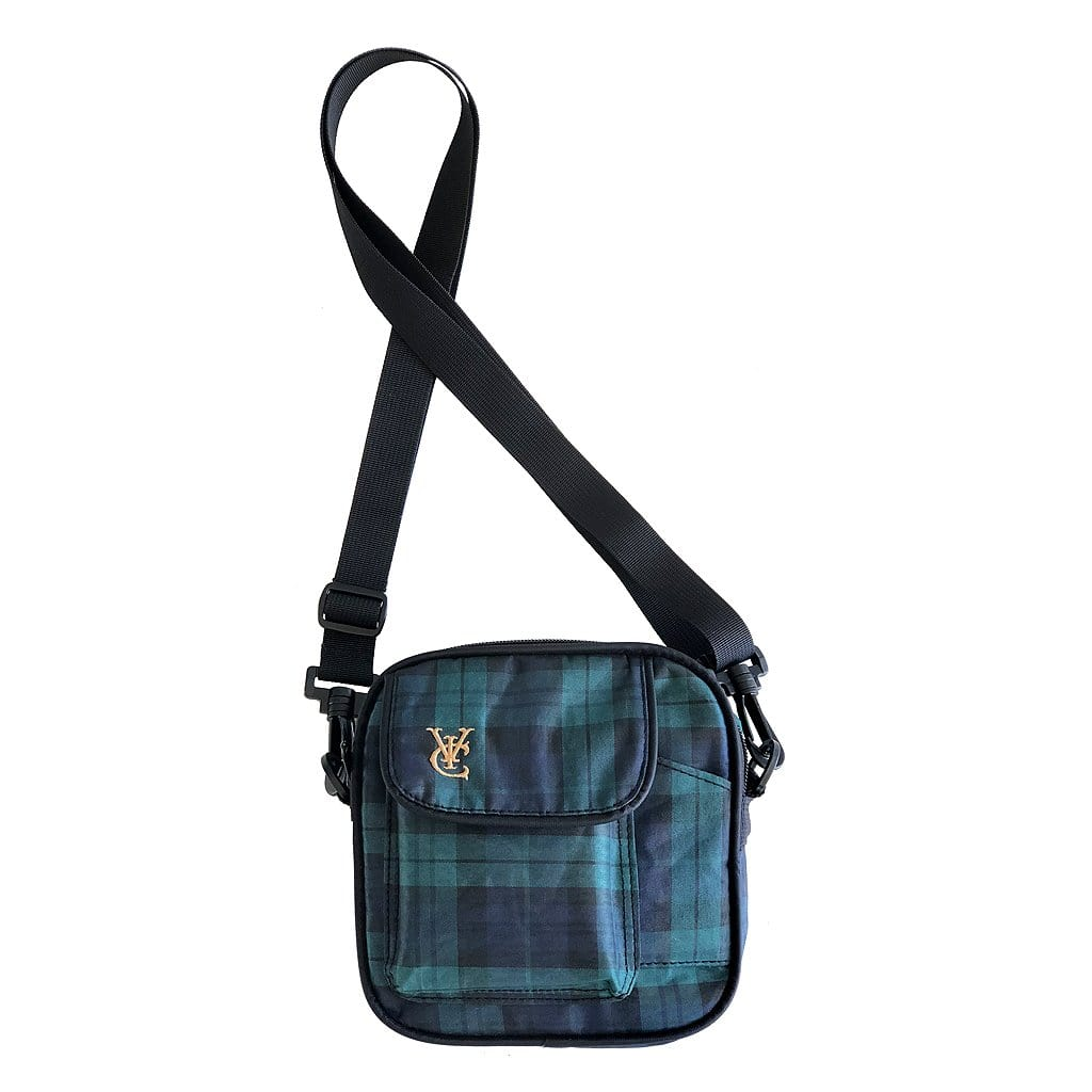 Plaid tartan shoulder side bag by New Zealand skate and streetwear clothing label VIC Apparel. Embroidery logo.
