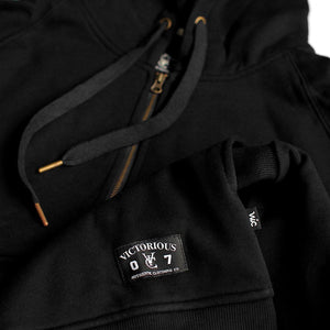 VIC 1/2 ZIP PULLOVER HOOD - BLACK