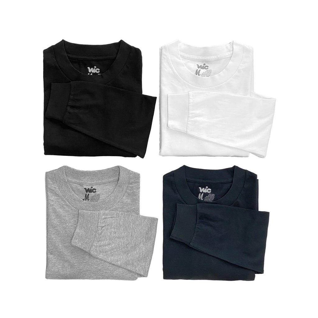 Premium quality plain long sleeve tee shirt by New Zealand skate and streetwear clothing label VIC Apparel. A clean & heavyweight staple. Pack of 4.