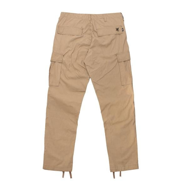 Premium quality ripstop cargo pants in khaki by New Zealand skate and streetwear clothing label VIC Apparel. American classic vintage military workwear style.