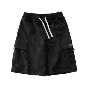 Heavyweight sweat cargo track shorts by New Zealand skate and streetwear clothing label VIC Apparel. Loose baggy fit. Screen printed logo. Reflective pull on cargo pocket flap.