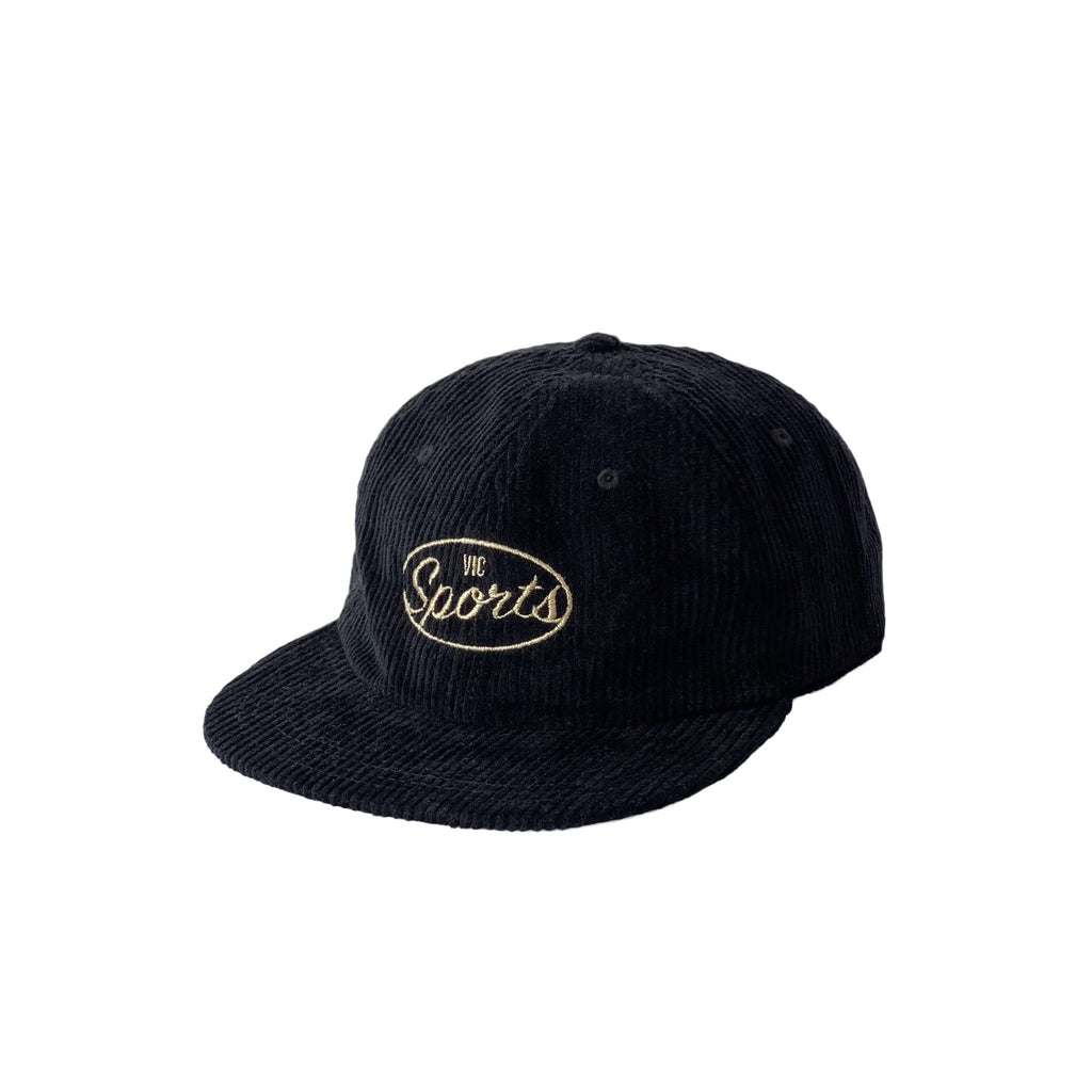 Premium quality corduroy 6-panel hat by New Zealand skate and streetwear clothing label VIC Apparel. Embroidered logo. Classic vintage unstructured 6 Panel cap style, one size fits all.