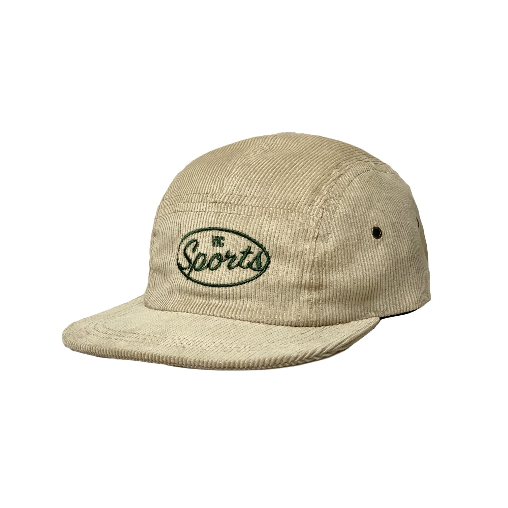 Premium quality corduroy 5-panel camp hat by New Zealand skate and streetwear clothing label VIC Apparel. Embroidered logo. Classic vintage camp cap style, hand made in New Zealand.