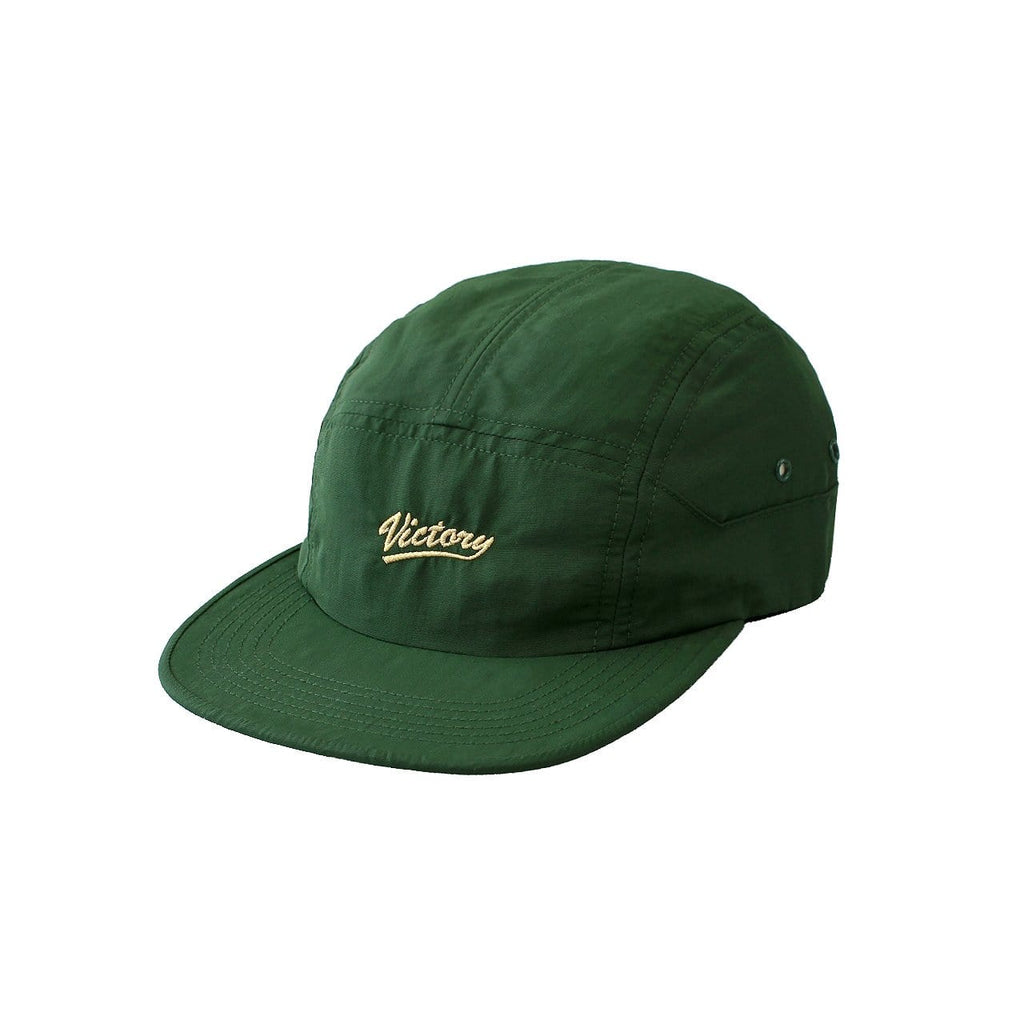 Premium quality nylon 5-panel hat in forest green by New Zealand skate and streetwear clothing label VIC Apparel. Embroidered logo. Showerproof, camp cap style, hand made in the USA.