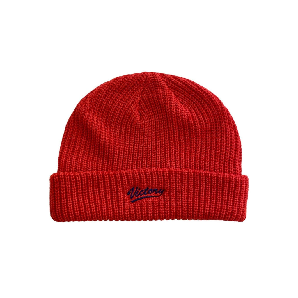 Premium quality knitted fisherman short body cuff beanie in red by New Zealand skate and streetwear clothing label VIC Apparel. Embroidered logo.