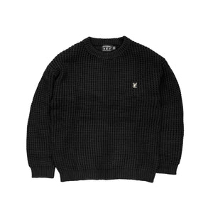 Premium quality crewneck waffle knit sweater by New Zealand skate and streetwear clothing label VIC Apparel. Classic minimal design. Relaxed fit.