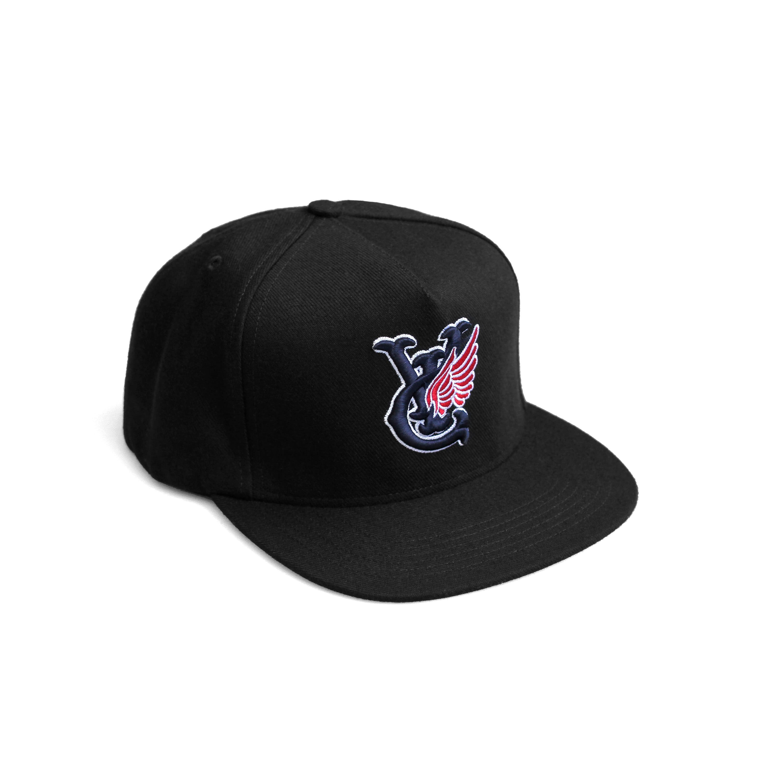 Premium quality baseball snapback hat in black by New Zealand skate and streetwear clothing label VIC Apparel. Embroidered logo. A-frame snapback cap style, hand made in the USA.