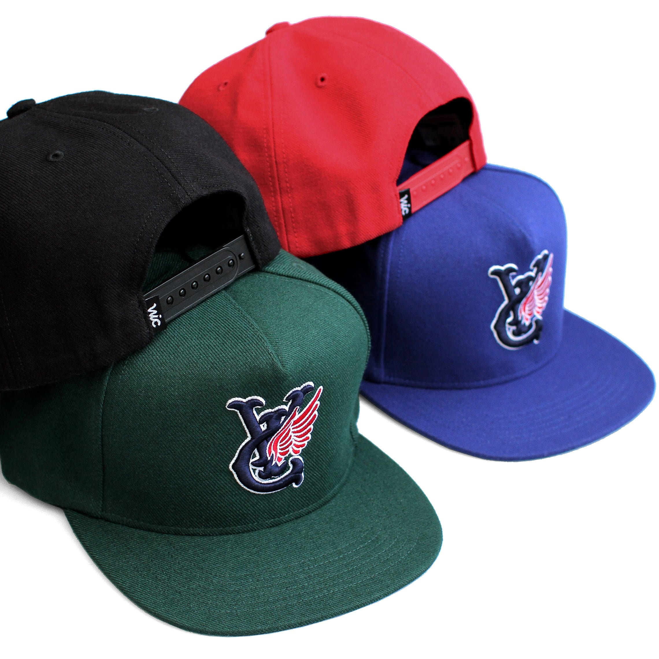 Premium quality baseball snapback hats by New Zealand skate and streetwear clothing label VIC Apparel. Embroidered logo. A-frame snapback cap style, hand made in the USA.