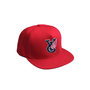 Premium quality baseball snapback hat in red by New Zealand skate and streetwear clothing label VIC Apparel. Embroidered logo. A-frame snapback cap style, hand made in the USA.